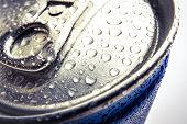 Water Drops On A Can. Cold Energetic Drink With Drops Of Water On A Top Of The Can. poster