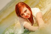 Summer Fun, Recreation Outside Concept. Redhead Adult Woman Posing In Water During Summertime, Havin poster