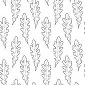 Black And White Hand Drawn Oak Leaves. Vector Seamless Pattern. Botany Endless Pattern For Wallpaper poster