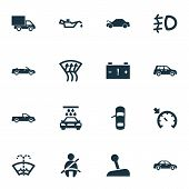 Automobile Icons Set With Caution, Oil Pressure Low, Pickup And Other Car Elements. Isolated Vector  poster