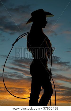 Woman With Rope Silhouette Close