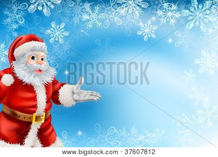 Blue Snowflakes And Santa Background