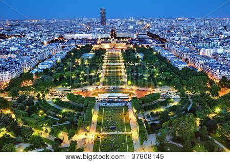 Night view of Champ de Mars, Paris - France