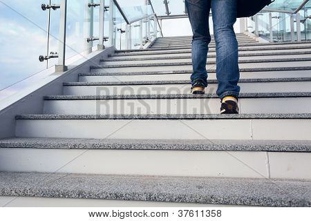 Man On Office Stairs