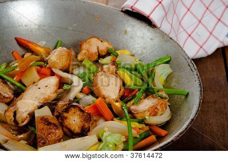 vegetable dish and chicken