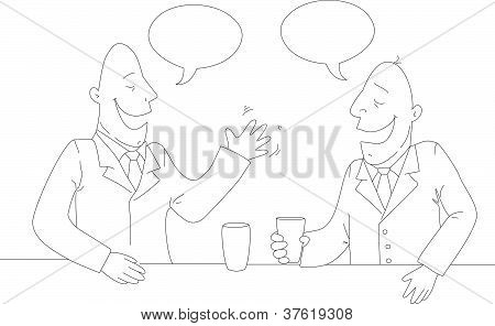 Two Businessman Drinking Tea