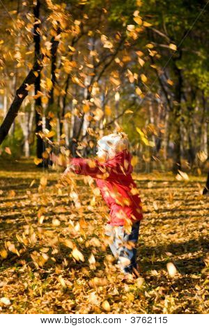 Children Throw Autumn Leaves 3