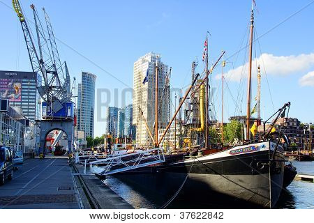 View of the old port in Rotterdam. Netherlands