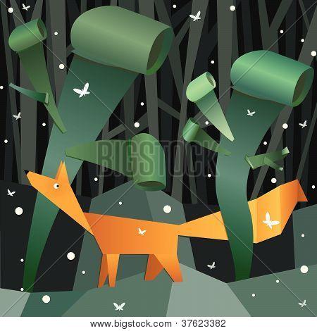 Bosque papel doblado con fox
