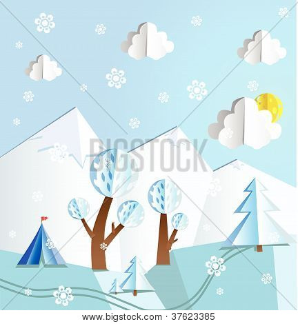 Paper folded winter landscape