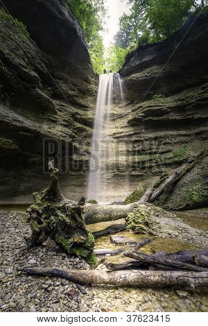 Waterfall P�hler Schlucht In Bavaria Germany