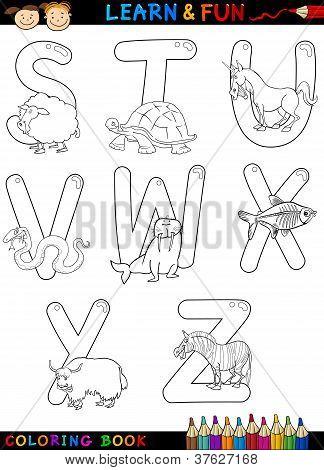 Alfabeto de dibujos animados con animales para colorear
