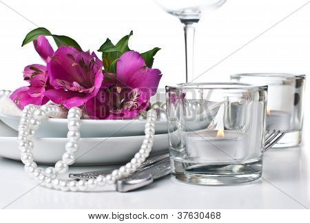 Table Setting With Pink Alstroemeria Flowers