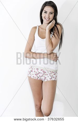 Woman In Underwear Laughing