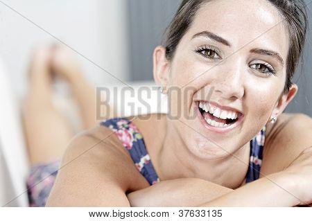Woman In Blue Summer Dress