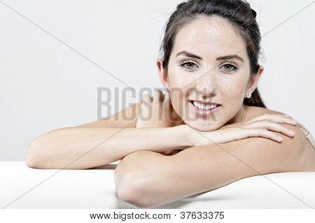 Woman In Cream Underwear