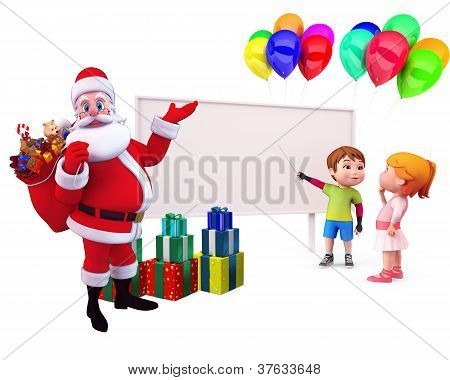kids with reindeer and gifts
