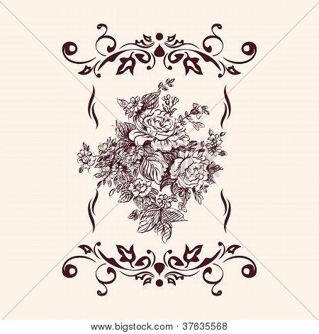 vintage floral rose  background