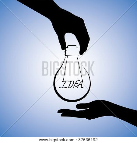 Concept Illustration Of One Person Providing Idea To The Other. The Graphic Uses A Light Bulb With F