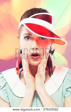Surprised Girl In Red Sun Visor