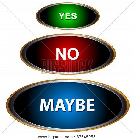 Yes No And Maybe - Three Signs