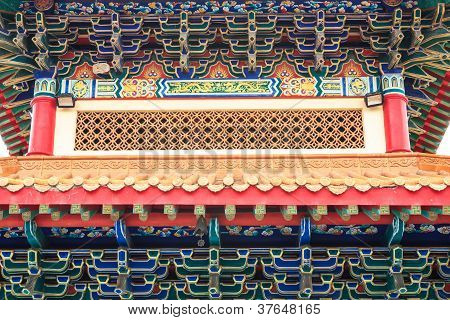 Building, Eaves, Chinese Temple In Thailand