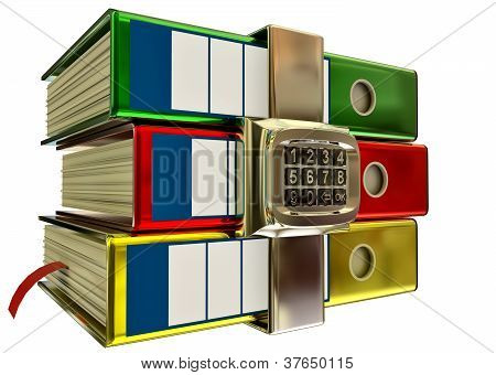 three colored folders with electronic lock