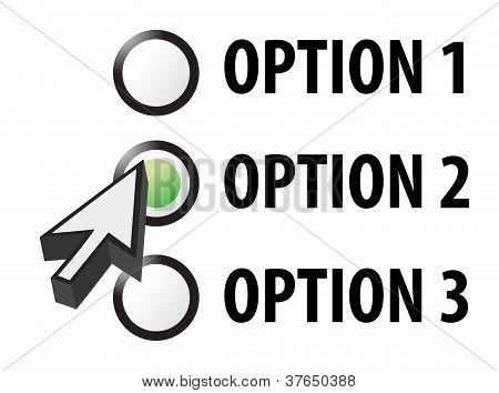 Opción 1 2 o 3 selección ilustración
