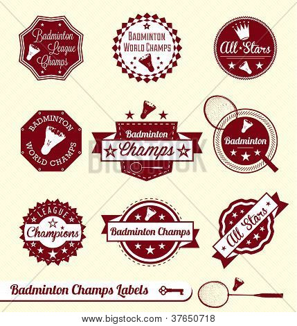 Vector Set: Vintage Badminton Labels and Stickers
