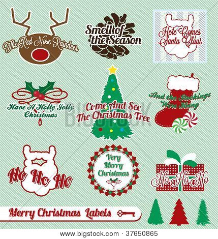 Vector Set: Vintage Christmas Labels and Stickers