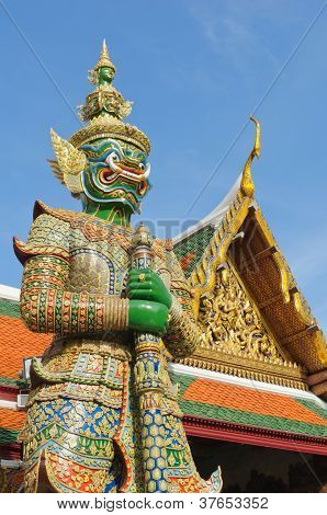 Giant Stand Guard In Wat Phra Keaw, Bangkok Thailand