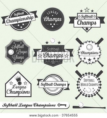 Vector Set: Vintage Softball League Champs Labels