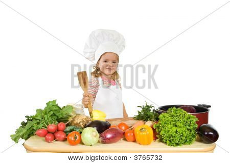 Happy Chef With Vegetables
