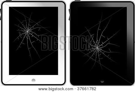 White and black tablet pc with broken glass