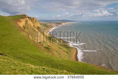 A Dorset coastal view towards West Bay and Chesil beach