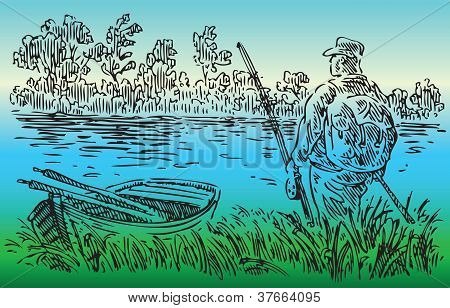 Fisherman On The River