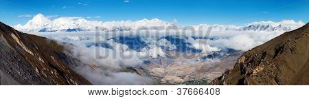 view from thorung la pass annapurna himal to dhaulagiri himal