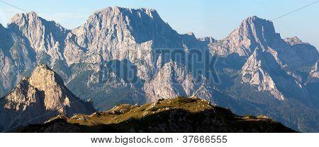 morning view from Karnische Alpen or Alpi Carniche to Alpi Dolomiti - Mount Siera, Creta Forata and