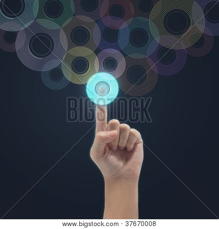 Businessman Connecting Button Touch Screen Interface