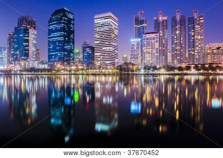 Bangkok city at night with reflection of skyline, Bangkok,Thailand