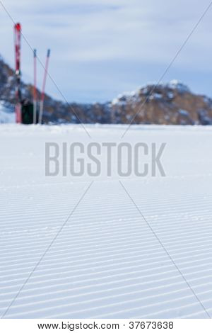 Snowcat track close-up