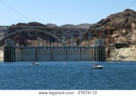 Hoover Dam , Lake  Mead And Colorado River Bridge