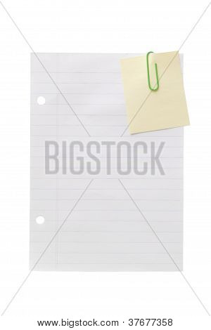Paperclip Adhesive Note And Page