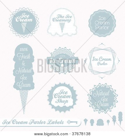 Vector Set: Vintage Ice Cream Shop Labels and Stickers