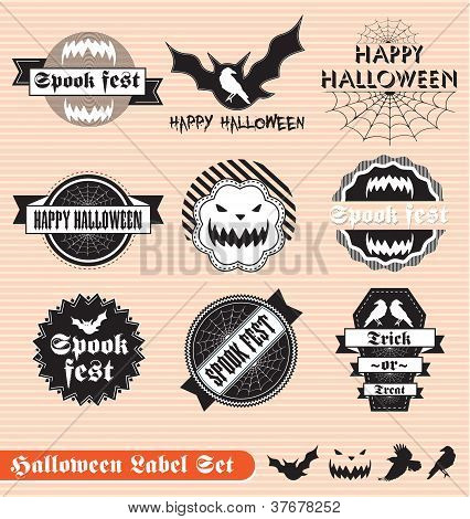 Vector Set: Vintage Halloween Labels and Stickers