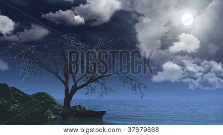 The Tree And Boats.
