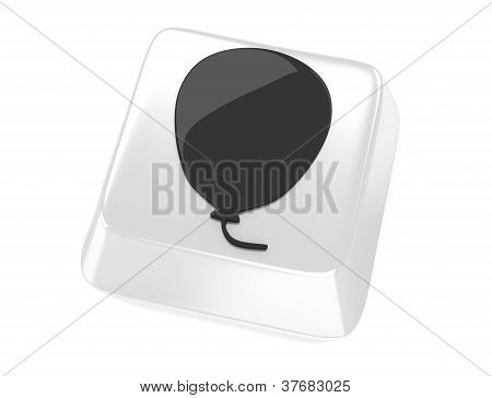 Balloon Symbol In Black On White Computer Key. 3D Illustration. Isolated Background.