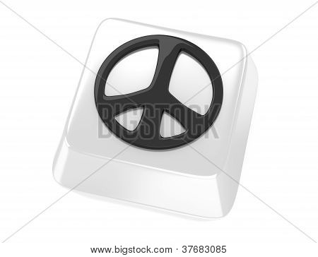 Peace Symbol In Black On White Computer Key. 3D Illustration. Isolated Background.
