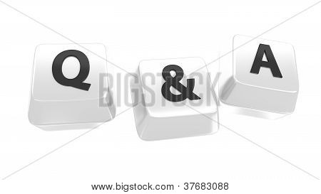 Q&a Written In Black On White Computer Keys. 3D Illustration. Isolated Background.