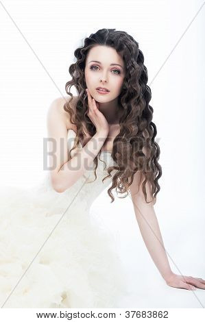Wedding Style. Portrait Of Gorgeous Woman Bride - Curly Hair